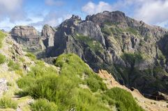 Pico do Arieiro hiking trail, amazing magic landscape with incredible views. Rocks and mist stock photography