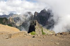 Pico do Arieiro hiking trail, amazing magic landscape with incredible views stock image