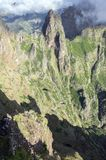 Pico do Arieiro hiking trail, amazing magic landscape with incredible views, rocks and mist. Aerial view stock photography