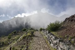 Pico do Arieiro hiking trail, amazing magic landscape with incredible views, rocks and mist, Air Defence Radar Station stock images