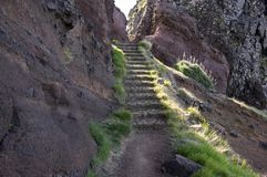 Pico do Arieiro hiking trail, amazing magic landscape with incredible views, rocks and mist. Madeira island Stock Images