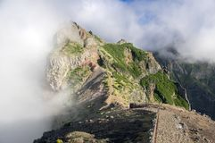 Pico do Arieiro hiking trail, amazing magic landscape with incredible views, rocks and mist. Madeira mountains, Portugal Stock Photography