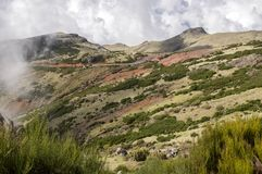 Pico do Arieiro mountain surroundings, amazing magic landscape with incredible views, rocks and mist, Madeira stock photography
