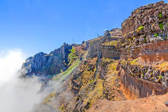 Pico do Arieiro - radar station - mountainous landscape Royalty Free Stock Photo