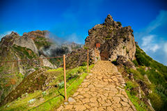 Pico do Arieiro trekking footpath Stock Photos