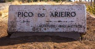 Pico Do Ariero Mountains Sign Immagini Stock