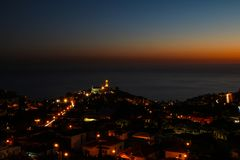 Pico dos Barcelos by Night, Funchal, Madeira Stock Photo