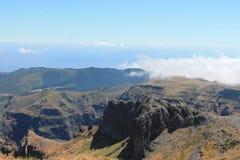 Pico font la montagne d'Areeiro Photo stock