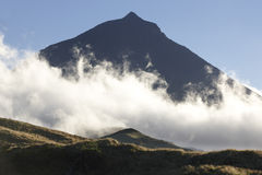 Pico island landscape with mountain and clouds. Azores. Portugal Royalty Free Stock Photo