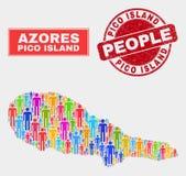 Pico Island Map Population Demographics e selo do Grunge ilustração royalty free