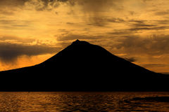 Pico Mountain from Azores, Portugal. At sunset royalty free stock image