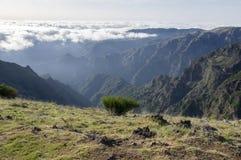 Pico Ruivo, der, über Wolken, erstaunliche magische Landschaft, unglaubliche Ansichten, sonniges Wetter mit tiefen Wolken, Insel  Stockfoto