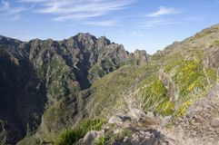 Pico Ruivo hiking, above clouds, amazing magic landscape, incredible views, sunny weather with low clouds, island Madeira, Portu. Pico Ruivo hiking, above clouds royalty free stock photo