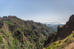 Pico Ruivo and Pico do Areeiro mountain peaks in Madeira, Portugal Royalty Free Stock Images
