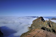 Pico Ruivo from Pico Do Areriro Stock Photography