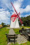 Pico Vermelho windmill on the coast of Sao Miguel Island Royalty Free Stock Images