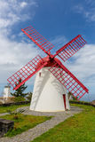 Pico Vermelho windmill on the coast of Sao Miguel Island Royalty Free Stock Photos