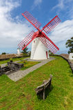 Pico Vermelho windmill on the coast of Sao Miguel Island Stock Images