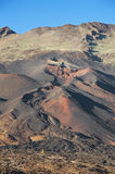 Pico Viejo火山口,火山的风景在El teide国家公园,加那利群岛,西班牙 免版税库存图片