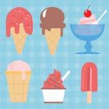 Picolé doce da sobremesa da ilustração ajustada do ícone do vetor do cone de gelado Foto de Stock Royalty Free