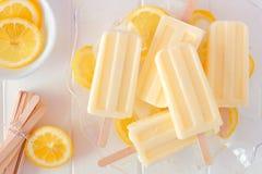 Picolés do iogurte do limão em uma bacia transparente contra a madeira branca Foto de Stock Royalty Free