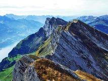 Picos alpinos en la cadena de montaña de Churfirsten entre Thur River Valley y lago Walensee imagen de archivo
