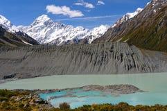 Picos alpinos sobre un lago y una moraine glaciales Imagen de archivo libre de regalías