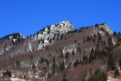 Picos das dolomites e os cumes durante um dia de inverno bonito Fotos de Stock Royalty Free