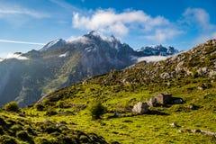 Picos de Europa mountains and clouds. Asturias Royalty Free Stock Image