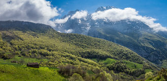 Picos de Europa mountains and clouds. Asturias Royalty Free Stock Images