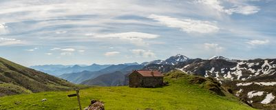 Picos de Europa mountains next to Fuente De village Cantabria Spain. Picos de Europa mountains next to Fuente De village Cantabria Spain royalty free stock photography