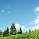 Picos de montaña contra el cielo azul fotos de archivo