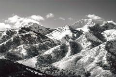 Picos de montaña de Wasatch en Utah septentrional en el invierno Imagen de archivo