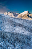 Picos de montaña en la salida del sol del invierno Imágenes de archivo libres de regalías