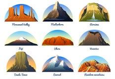 Picos de montañas, paisaje temprano en una luz del día, sistema grande valle del monumento, Cervino, roraima, Fuji o uluru, Vesuv stock de ilustración