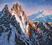 Picos de montanha do Cáucaso no alvorecer adiantado artwork Foto de Stock Royalty Free