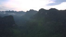 Picos de montanha entre a névoa e os montes cobertos com a floresta verde video estoque