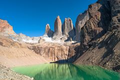 Picos de Torres del Paine, parque nacional, Patagonia Imagen de archivo