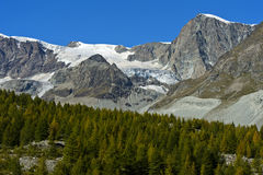 Picos e geleiras perto de Zermatt Fotografia de Stock