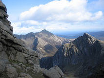 Picos e rochas, Arran Fotografia de Stock