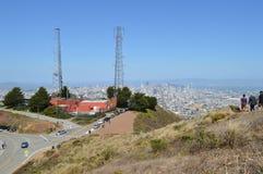 Picos gemelos San Francisco California de las torres de radio Foto de archivo libre de regalías
