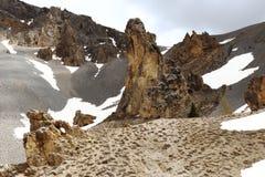 Picos rochosos do déserte de Casse do La, parque natural de Queyras do francês Imagem de Stock