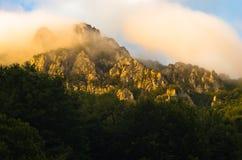 Picos rochosos no nascer do sol nevoento, trajeto trekking na montanha de Suva Planina imagens de stock