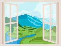 Picos y río de montaña Ventana abierta con una opinión del paisaje stock de ilustración
