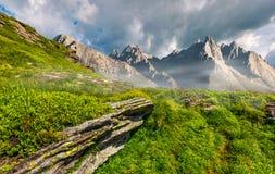 Picos y rocas rocosos en la ladera en Tatras Fotos de archivo