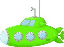 Antique green submarine cartoon Royalty Free Stock Images