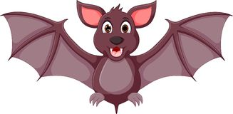 Cute bat cartoon standing with laughing and waving Stock Photos