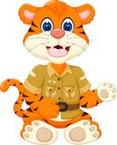 Cute little tiger cartoon sitting with smile and waving. Pict of cute little tiger cartoon sitting with smile and waving Royalty Free Stock Photography