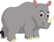 Cute rhino cartoon standing with look up Stock Photo