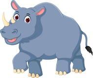 Cute rhino cartoon walking with laughing Stock Image